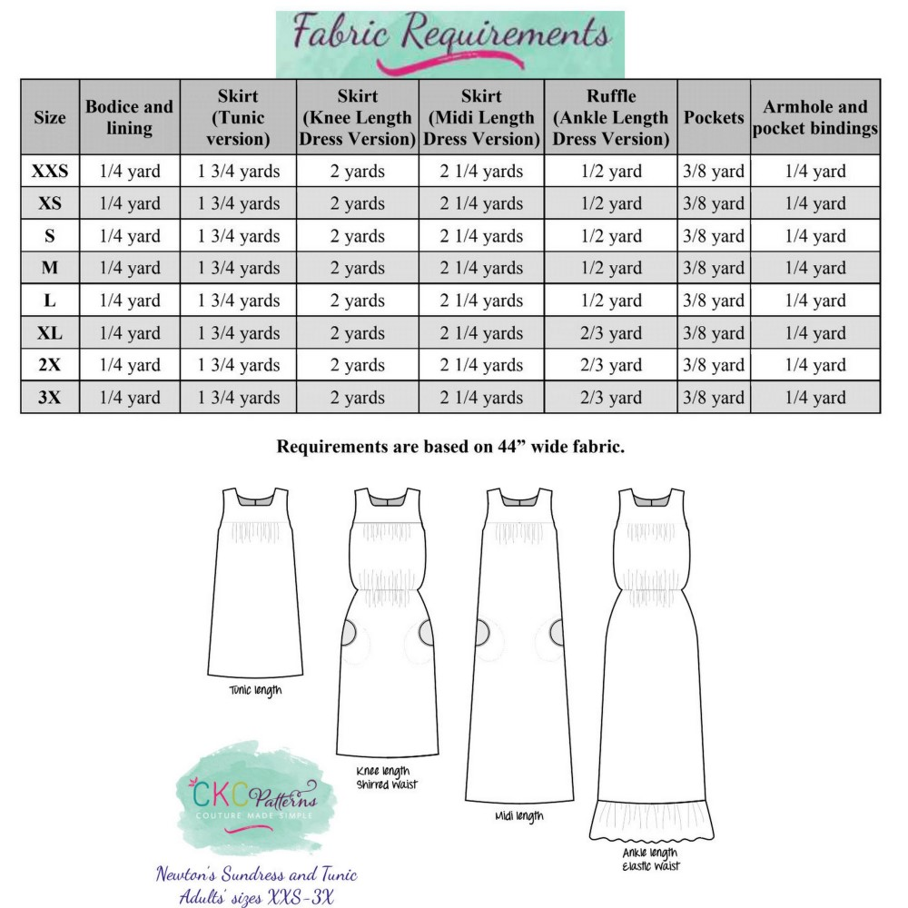 Newton's Sundress and Tunic Sizes XXS to 3X Adults PDF Pattern