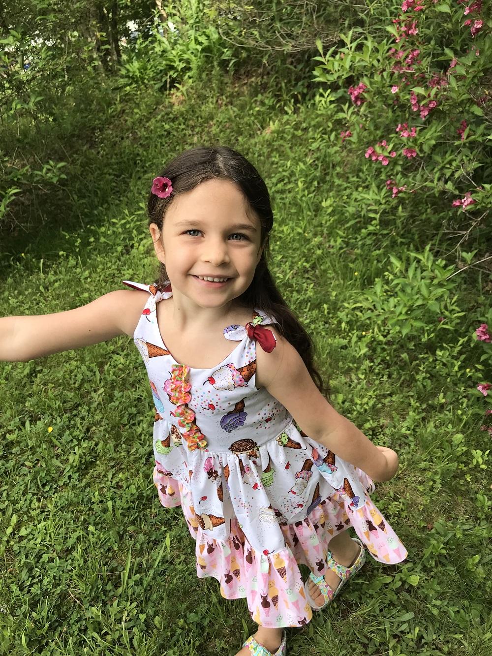 Louisa's Tie Shoulder High-Low Dress Sizes 2T to 14 Kids PDF Pattern