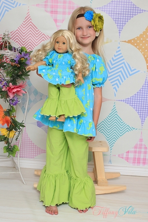 Paired with Kayla's Knit Ruffle Top and Kayla's & Jessica's Doll Size