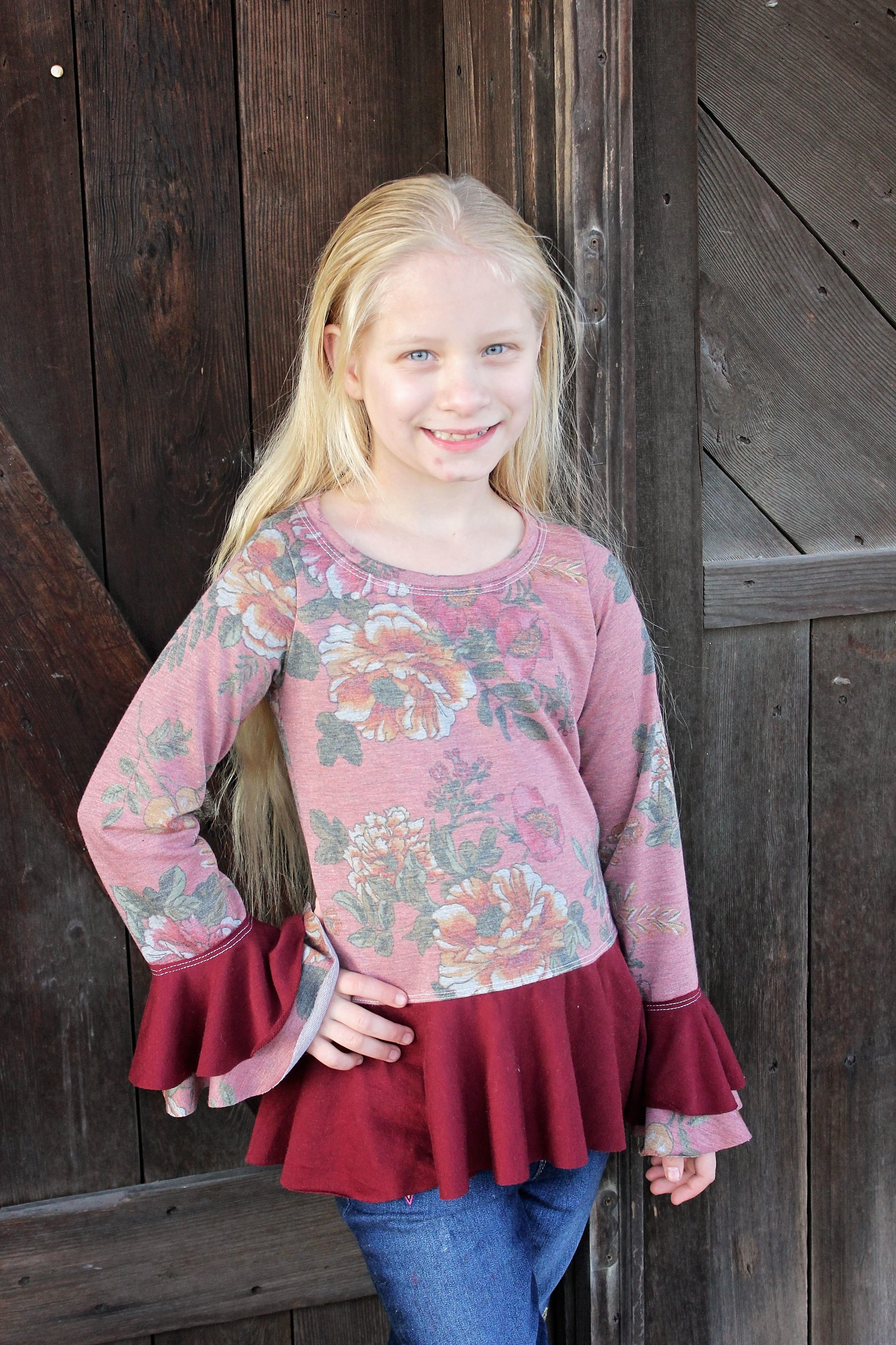 Heidi's Hi-Low Peplum Shirt Sizes 6/12m to 15/16 Kids PDF Pattern