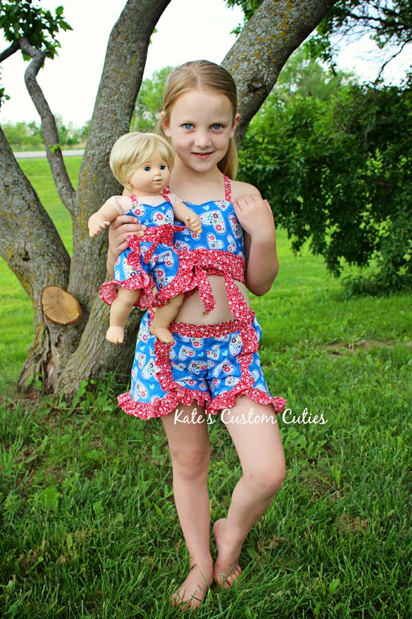 Kristine's Ruffled Shorts Sizes NB to 15/16 Kids and Dolls PDF Pattern