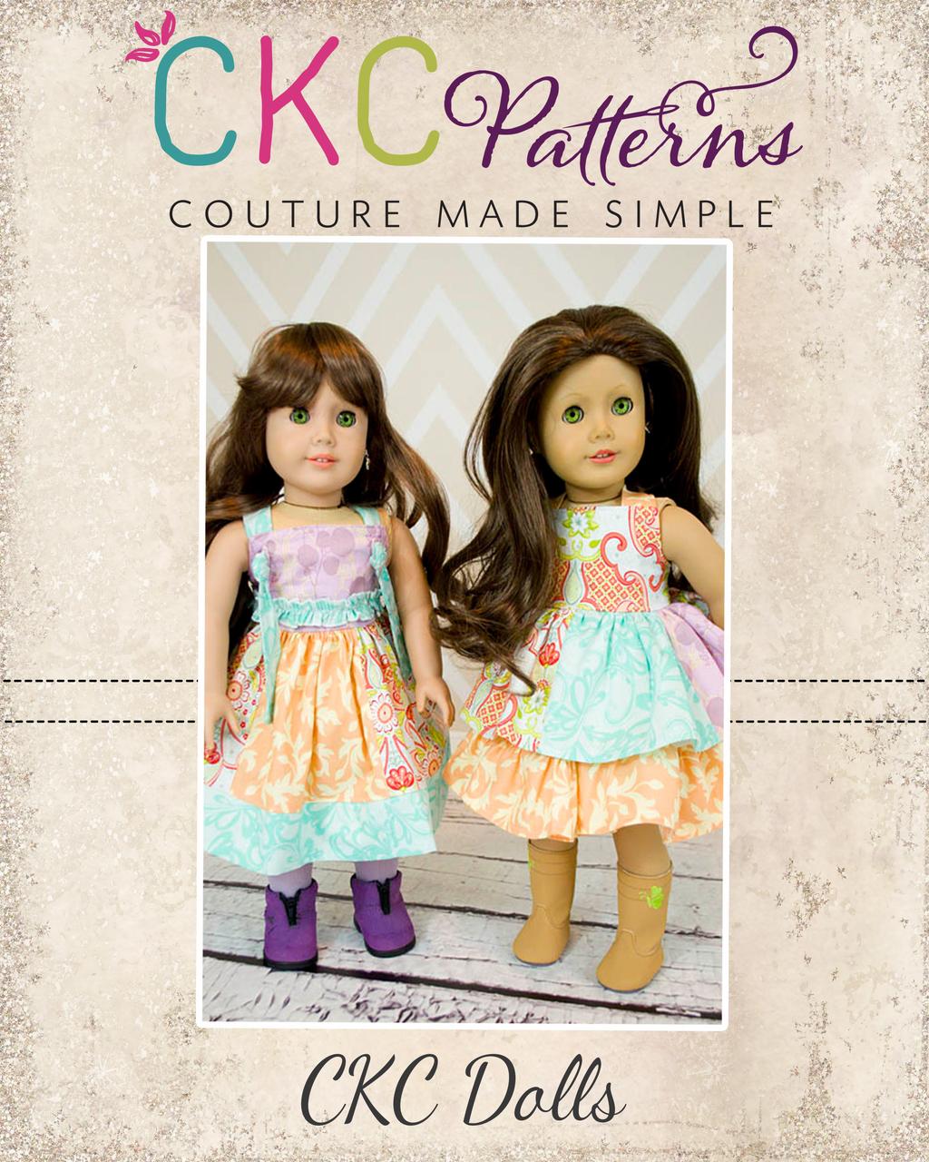 Mia's Reverse Knot Dress & Yvette's Stripwork Knot Dress Doll Size PDF Pattern
