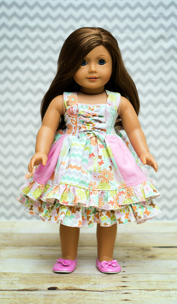 Serena's Stripwork Double Layer Dress Doll Size PDF Pattern