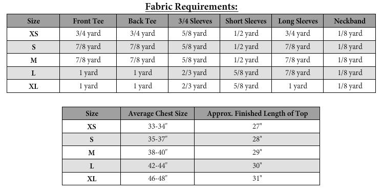 Brody's Baseball Tee Sizes XS to XL Adults PDF Pattern