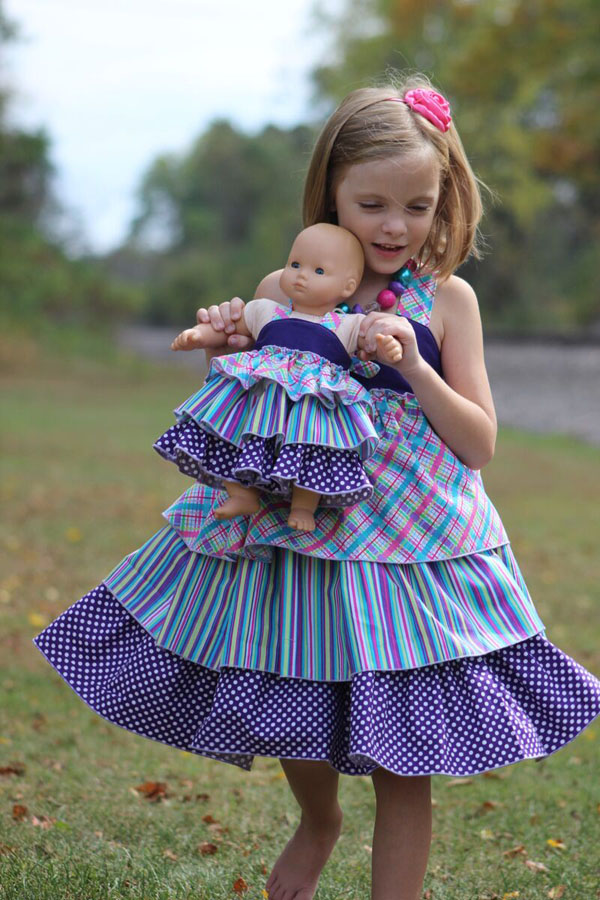 Addison's Triple Ruffle Low Back Dress Sizes NB to 8 Kids and Doll PDF Pattern