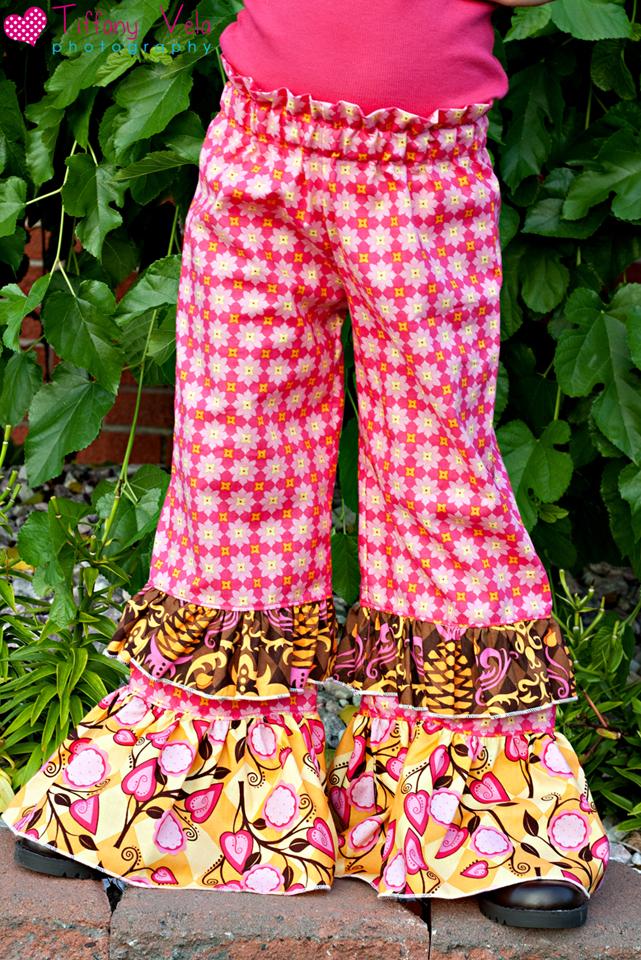 Alyssa's Ruffle Waist Pants Sizes 0/6m to 8 Kids and Dolls PDF Pattern