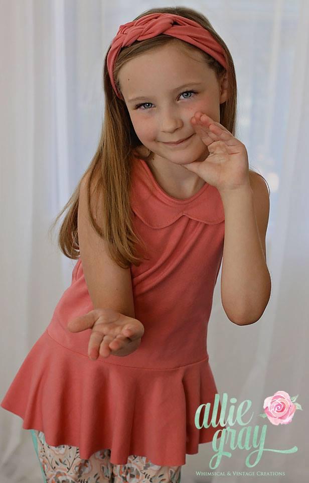 Peggy's Peplum Dress Sizes 6/12m to 15/16 Kids and Dolls PDF Pattern