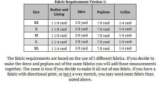 Peggy's Peplum Dress Sizes XS to XL Adults PDF Pattern