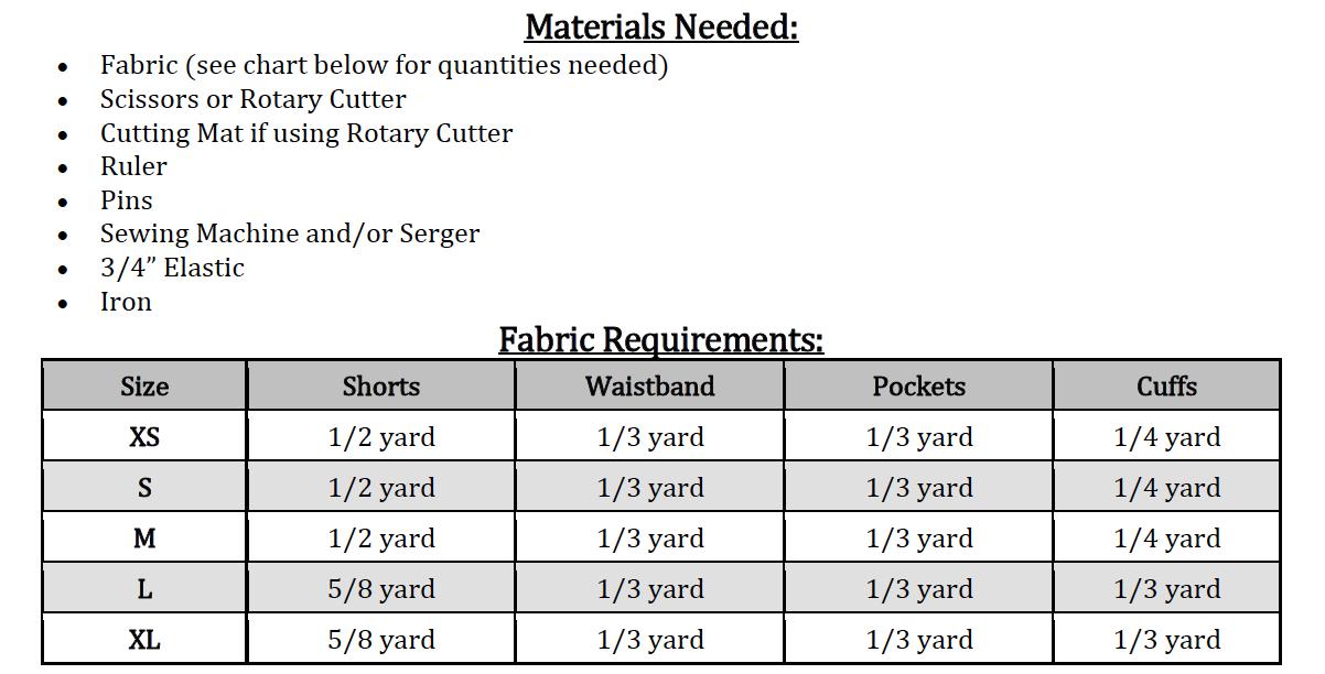 Blossom's Tab Shorts Sizes XS to XL Adults PDF Pattern