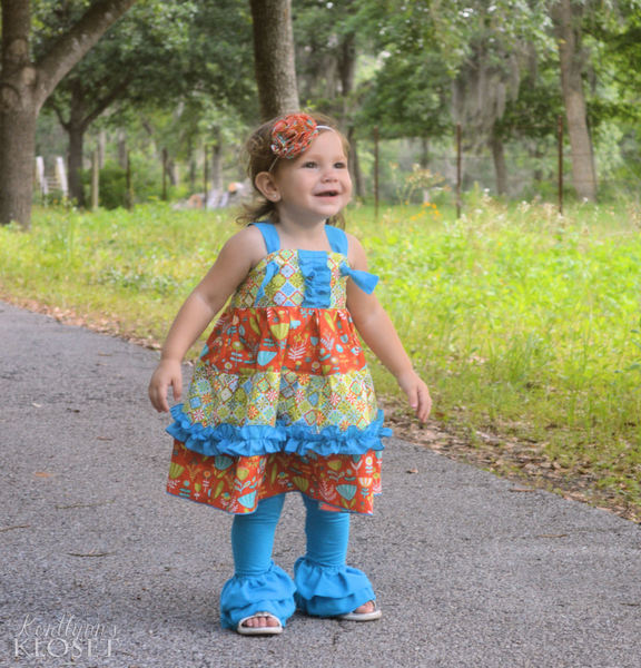 Aubrey's Tiered Ruffle Knot Dress Sizes NB to 8 Kids and Dolls PDF Pattern