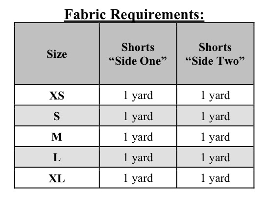 Madeline's Reversible Scalloped Shorties Sizes XS to XL Adults PDF Pattern