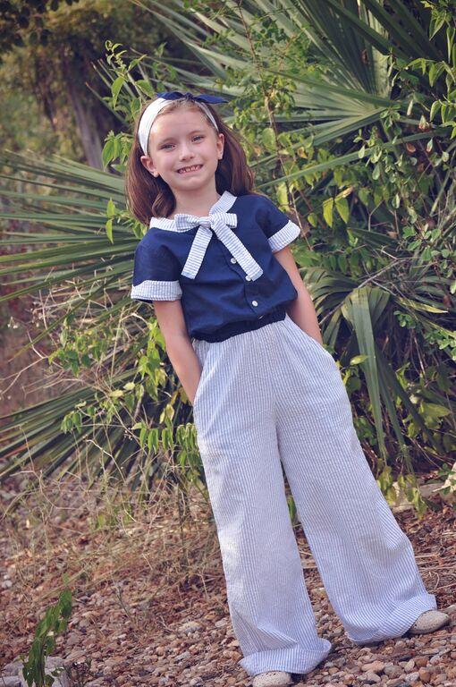 Regan's Tailored Tie-neck Romper Sizes 6/12m to 8 Kids PDF Pattern
