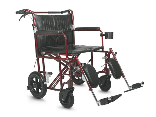 Bariatric Transport Chair,Red,F: 8   R: 12