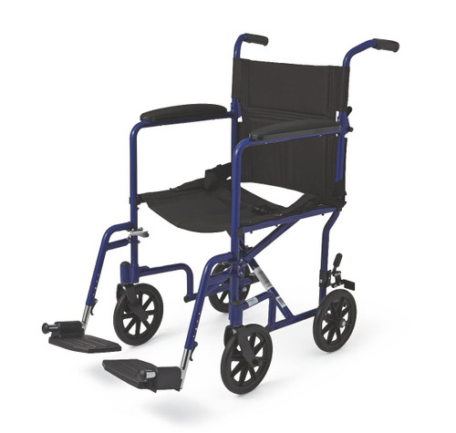 "Aluminum Transport Chair with 8"" Wheels,Blue,F: 8   R: 8"