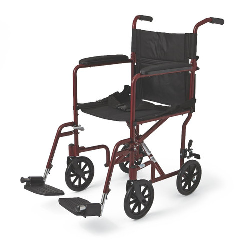 """Aluminum Transport Chair with 8"""" Wheels,Red,F: 8   R: 8"""