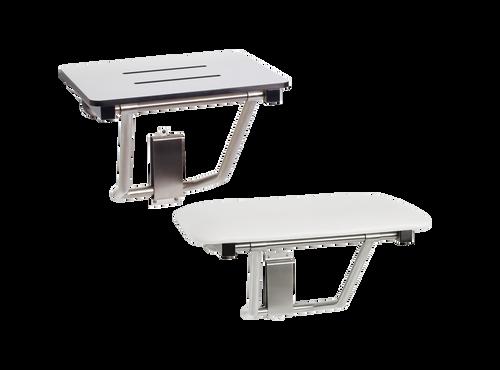Seats Shown: Top: Phenolic white with slots for water drainage. Bottom: Naugahyde white cushion