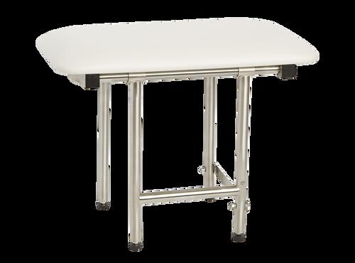 "Bench Style Shower Seat by Seachrome | 22"" x 15"" w/ Swing Down Legs | Naugahyde Cushion | SSB2-220150 NW"