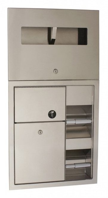 LOCKING RECESSED PARTITION COMBO, WOMEN'S SEAT COVER AND TOILET PAPER DISPENSER WITH SANITARY NAPKIN DISPOSAL BY SEACHROME | SCAL-157P-W