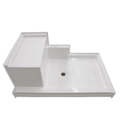 "Aquarius AcrylX™ Shower Base 60""W x 36""D x 24""H Left or Right Seat Center Drain G 6036 SH 1S PAN"