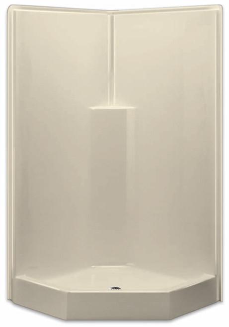 Aquarius AcrylX™  One-Piece Neo-Angle Corner Shower  Center Drain G 3892 SH NA 39 1/2″ X 39 1/2″ X 78 1/2″,  Molded Soap Ledge Center Drain, one-piece shower, 1-piece shower, corner shower, neo angle shower, remodel shower, low threshold, Cheap shower, Discount shower, low price shower, best price shower,  grab bar shower, sectional shower