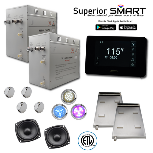 Homeward Bath 24 kW Superior SMART Steam Generator Kit SP24T1DP nationwidebath.com