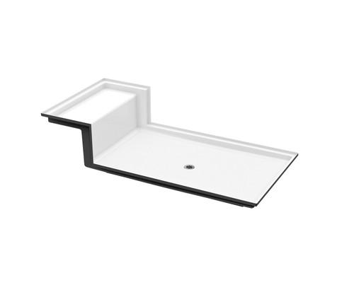 Aquarius AcrylX™ Shower Pan with Seat  96″ X 48″ X 7 3/4″ Center Drain G 9648 SH 1S