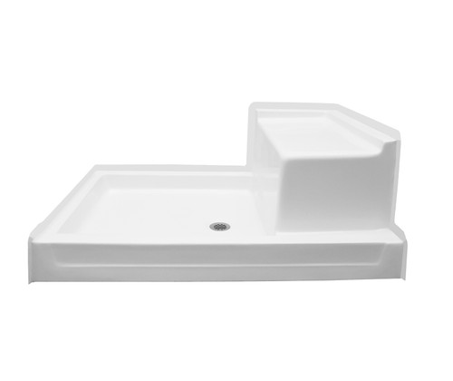 Aquarius AcrylX™ Shower Pan with Seat 48″ X 36″ Center Drain G 4836 SH 1S PAN