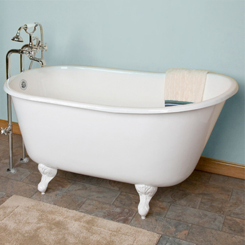 """Cast Iron Swedish Slipper Tub 58"""" X 30"""" with No Faucet Drillings"""