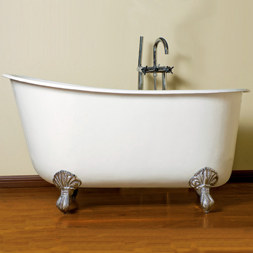 """Cambridge Plumbing - Cast Iron Swedish Slipper Tub 54"""" X 30"""" with No Faucet Drillings - SWED54"""