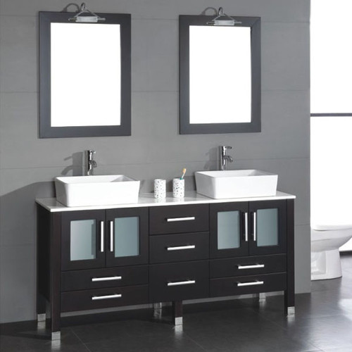 Cambridge Plumbing - 63 inch solid wood vanity with frosted glass counter top and two matching vessel sinks. Two long-stemmed  Polished Chrome or Brushed Nickel Faucets.