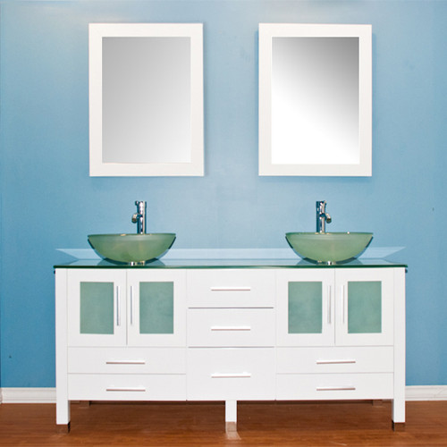 Cambridge Plumbing - 63 inch solid wood vanity with frosted glass counter top and two matching vessel sinks. Two long-stemmed Polished Chrome or Brushed Nickel Faucets