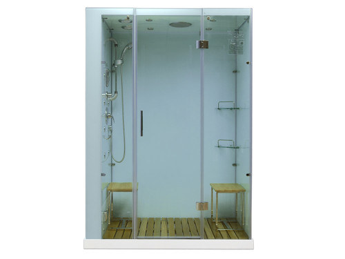 Orion Plus Steam Shower Enclosure | multiple H2O Jets | Includes Base | White | 59 W x 40 D x 86 H | White | LH / RH Drain | M6028, cheap steam shower, low price steam shower, discount steam shower, best price steam shower, home steam shower, home spa, steam shower,