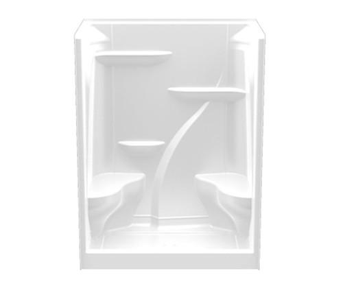 Aquarius Acrylic Residential Alcove Shower 60″ X 37 1/4″ X 79 1/4″ Two Molded Seats Center Drain A 6036 SH 2S OT