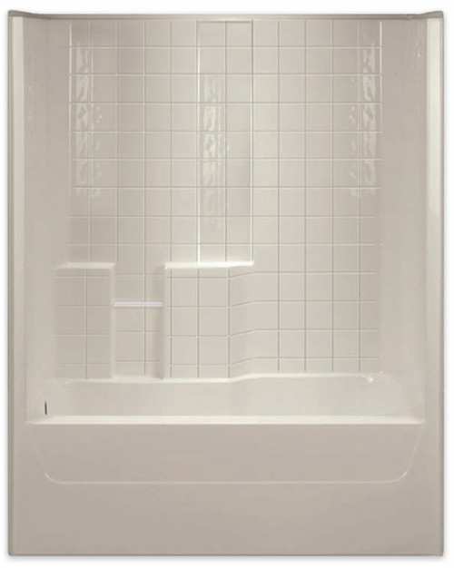 Aquarius AcrylX™ 60 x 32.5 Tub Shower Combo Simulated Tile Pattern Left Side Drain G3206TSTileL