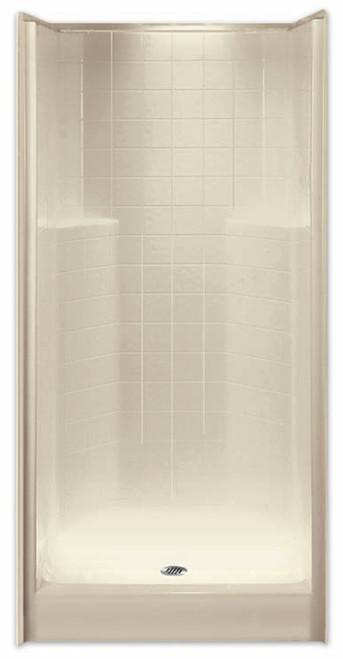 """Aquarius AcrylX ™ Alcove Shower 36""""W x 36""""D x 77.5""""H Simulated Tile Pattern Center Drain G 3679 SH Tile"""