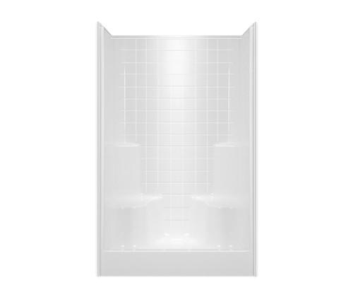 Aquarius AcrylX ™ Tile Look Alcove Shower 48W x 34.625D x 74H Two Seats Center Drain G 4834 SH 2S Tile