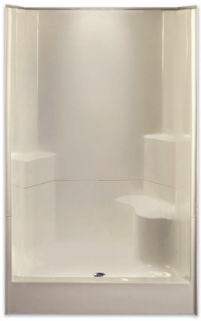 "Aquarius AcrylX ™ 2-Piece Sectional Shower 48"" W x 35.5""D x 77.5""H Center Drain Right Hand Seat G 4887 SH 2P 1S"