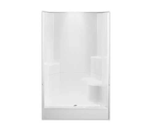 "Aquarius AcrylX ™ 2-Piece Sectional Shower 48"" W x 35.5""D x 77.5""H Center Drain Integrated Seat G 4887 SH 2P 1S"