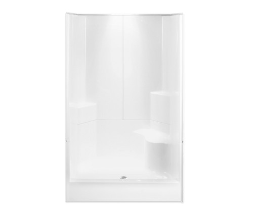 Aquarius AcrylX™ 3 Piece Alcove Shower 48″W X 35 1/2″D X 77 1/2″H Integrated Seat Smooth Wall Center Drain G 4887 SH 3P 1S