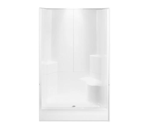 Aquarius AcrylX™ 3 Piece Alcove Shower Integrated Seat 48″W X 35 1/2″D X 77 1/2″H Center Drain G 4887 SH 3P 1S