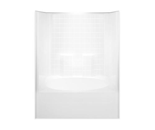 Aquarius AcrylX™ One Piece Tub Shower 60W x 42D x 74.5H Simulated Tile Pattern RH Drain G 6042 TS Tile