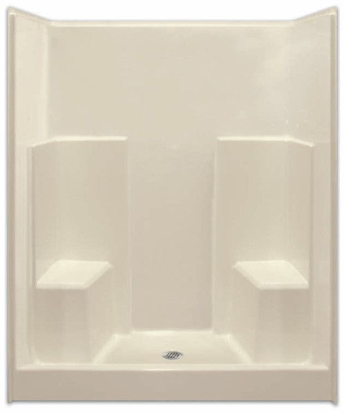 Aquarius AcrylX™ 60W x 35.5D x 75H Shower with soap dishes and two molded seats. Drain Location: center G6036SH2S