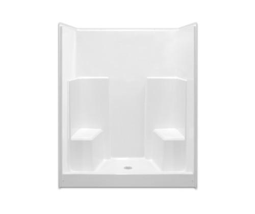 Aquarius AcrylX™ One Piece Shower 60″ X 35 1/2″ X 75″ Two Seats Center Drain G 6036 SH 2S