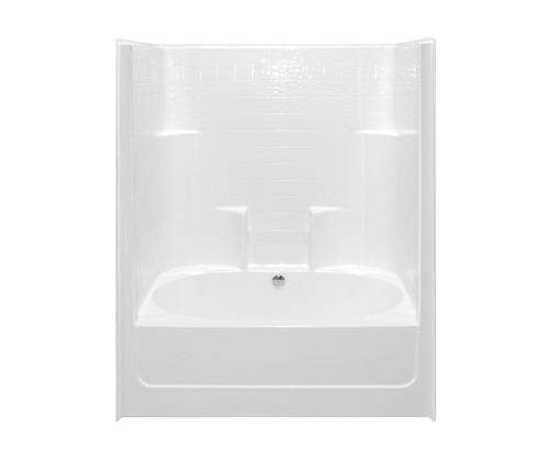 Aquarius AcrylX™ One-Piece Tub Shower Tile Look 60″ X 43 1/4″ X 77 1/4″ Rear Center Drain G 6042 TS CD Tile