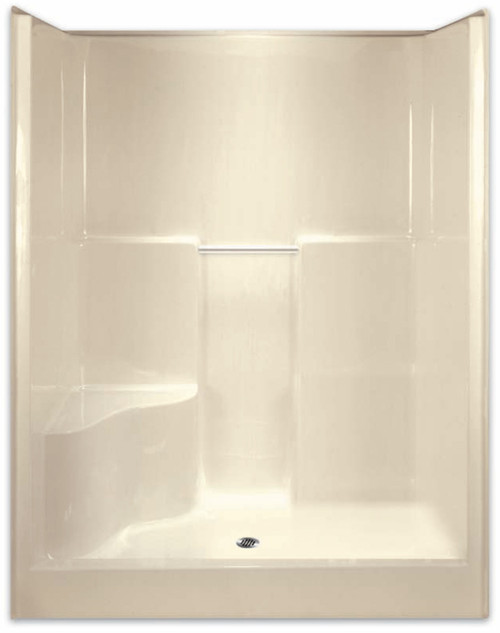 Aquarius AcrylX™ Alcove Shower 60W x 36.5D x 78.25H Center Drain RH Seat G 6077 SH 1S R