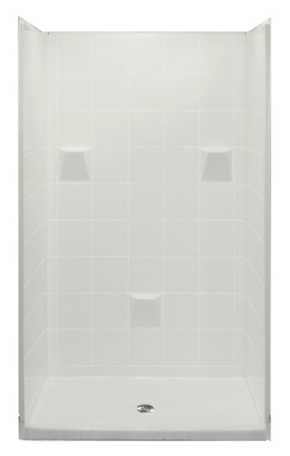 "Aquarius 48 x 37 Multi-Piece Gelcoat Shower 3"" Threshold Drain Center - HUD Compliant MP 4836 SH 4P 3.0"