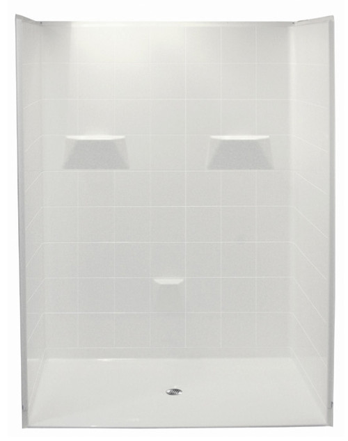 "Aquarius AcrylX™ | Barrier Free 5-Piece Reinforced Shower Stall | 60W x 33.375D x 77.75H | Center Drain | .75"" Threshold 