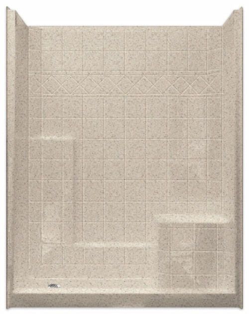 Aquarius Millennia 60 x 36 Gelcoat Shower With Tile Pattern - Molded Seat Left (RH Seat Shown) - M6036SH1STileL