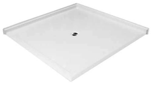 """Aquarius AcrylX™ Double Entry Barrier Free Shower Pan  61""""W x 61""""D x 4.5""""H Center Drain MPB 6060 BF DE 1.25"""