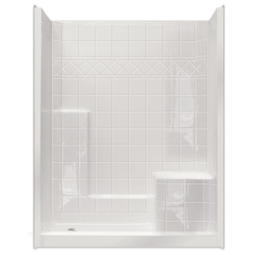 "Aquarius AcrylX™ 60""W x 36""D x 77""H One-Piece Reinforced Shower Tile Pattern Wall Integrated Seat CHM 6036 SH"